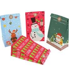 5 шт рождественские подарочные пакеты коробка конфеты еда печенье