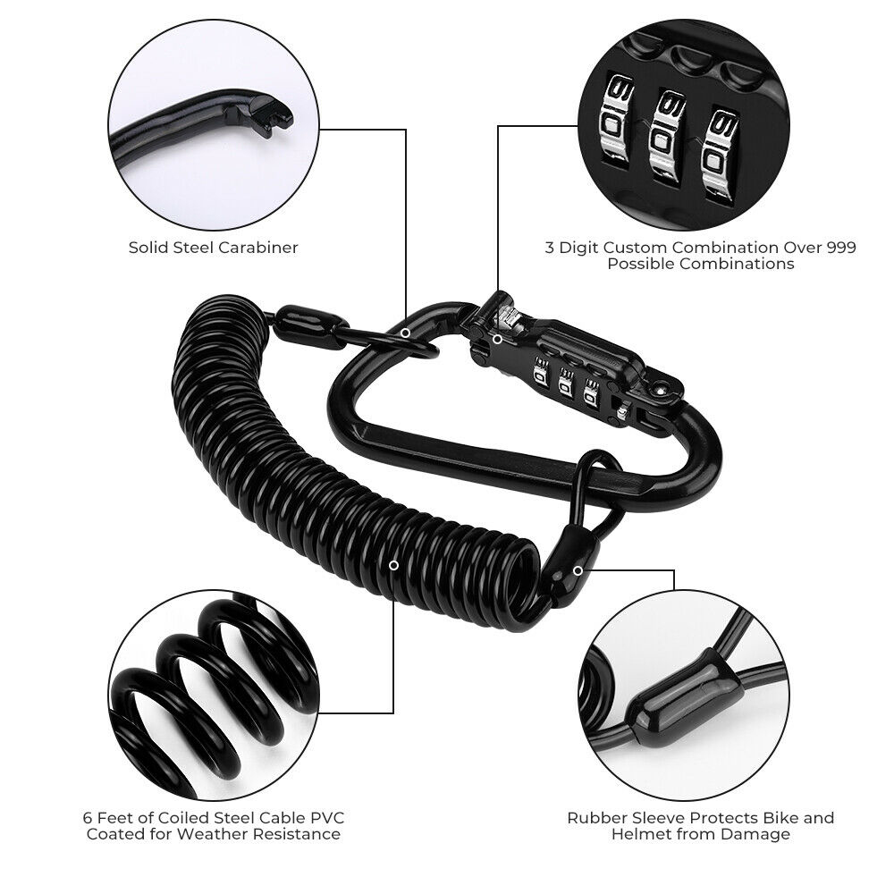Motorcycle Helmet Lock Coiled Steel Security Cable with Weather Resistant