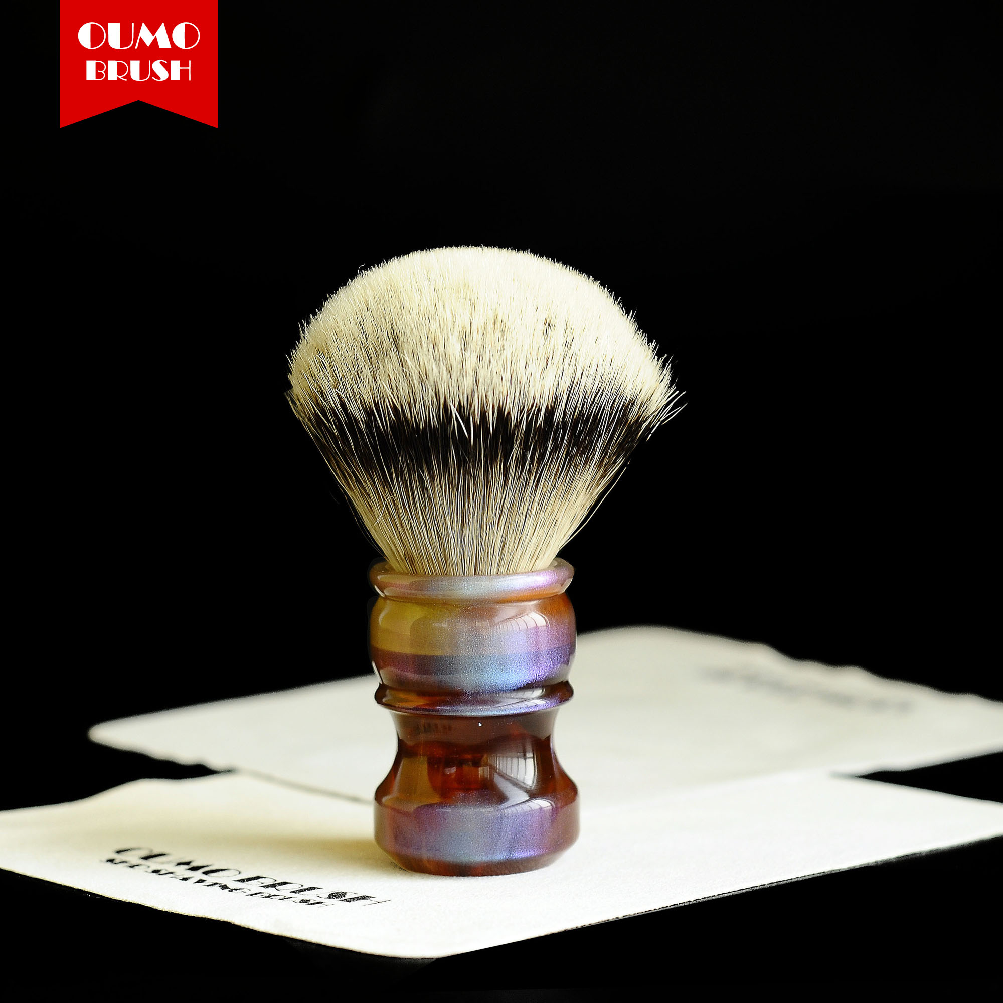 OUMO- Ambilight Silk SHD HMW Silvertip Knot Shaving  Brush Badger Knots