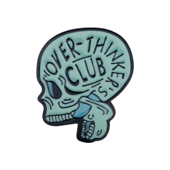 New Fashion Head Skull Enamel Pin Over-Thinker Club Where Is My Mind брошь Lapel Backpack Badge Brooch for Girls image