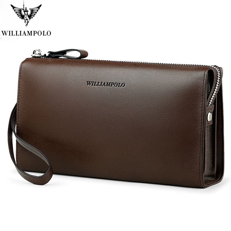 Enthusiastic Men 's Clutch Wallet Simple Leather Anti-theft Wrist With Handbag Fashion Business Zipper Multiple Internal Compartment Wallets