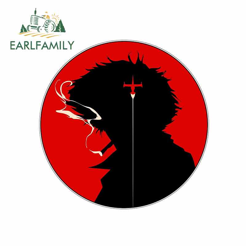 EARLFAMILY 13cm X 12.9cm For Cowboy Bebop Spike Circle Logo Funny Car Stickers Vinyl Graphics JDM RV VAN Fine Decal Accessories