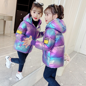 2020 new girls bright shiny thick down cotton colorful bread coat snowsuit cotton coat big children parka warm and down jacket(China)