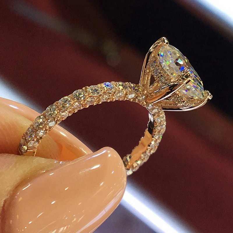 แฟชั่นประณีต Shining CZ Zircon แหวนสำหรับเครื่องประดับงานแต่งงานของผู้หญิง Rose Gold Silver สีคริสตัลหมั้นแหวน