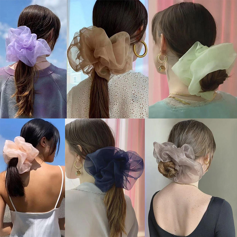 LEVAO Oversized Hair Band Women Solid Color Scrunchies Elastic Headbands Mesh Hairbands Girl Hair Tie Hair Rope Hair Accessories