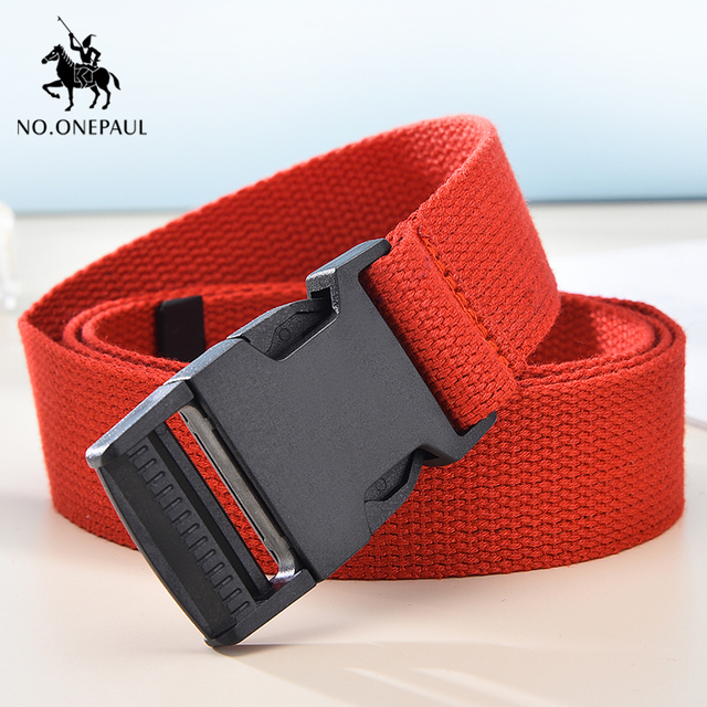 Comfortable solid color cloth with brand luxury buckle new casual outdoor tactical belt 2