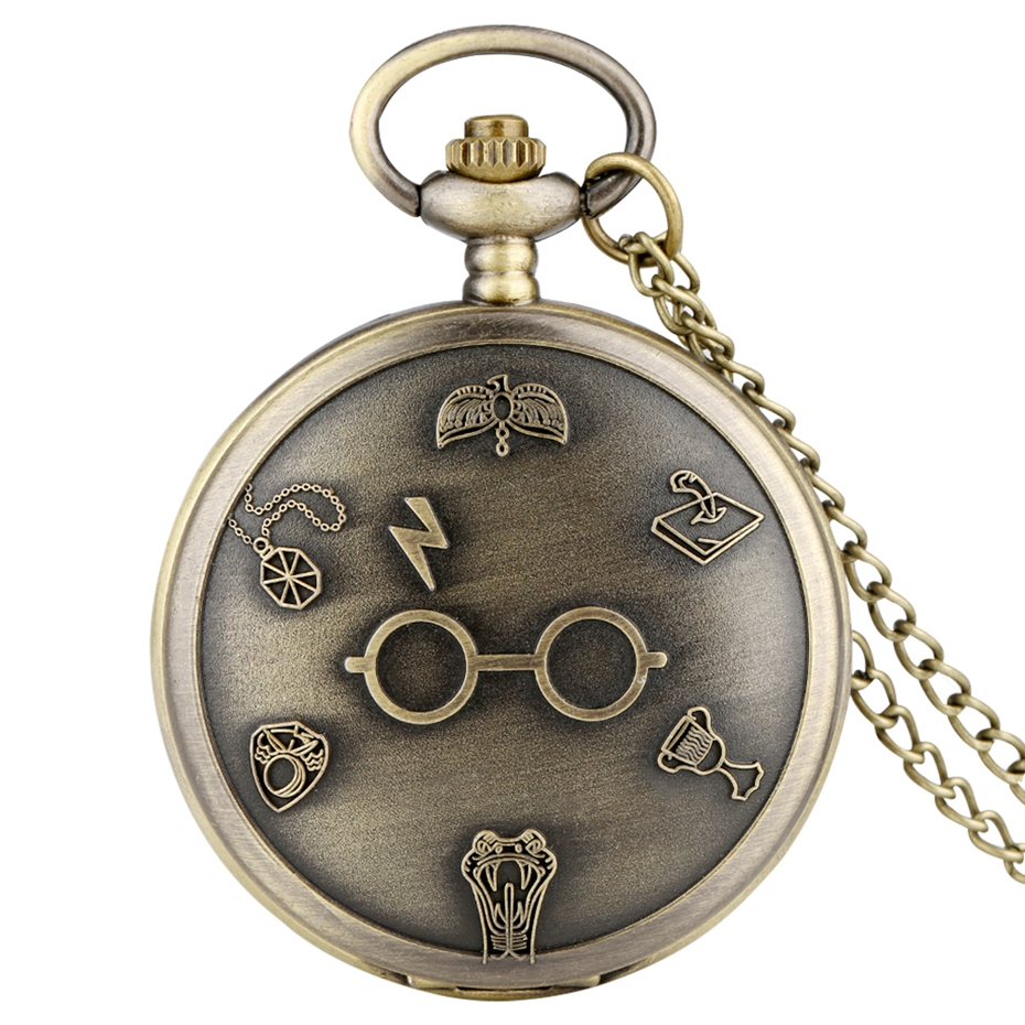 Retro Bronze Harajuku Harry Lightning Glasses Quartz Pocket Watch Necklace Flash Glasses Graphic Pendant Chain Art Antique Gifts