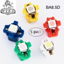 5Pcs T5 b8.5d instrument lamp LED 509T B8.5 5050 LED 1 SMD car dashboard bulb white red blue green yellow цены