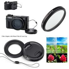 49 مللي متر UV تصفية و تصفية محول تركيب غطاء عدسة حارس لكانون Powershot G5X G7X مارك I II III كاميرا رقمية