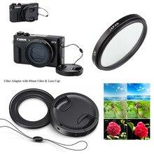 49mm UV Filter & Filter Mount Adapter lens cap keeper for Canon Powershot G5X G7X Mark I II III Digital Camera
