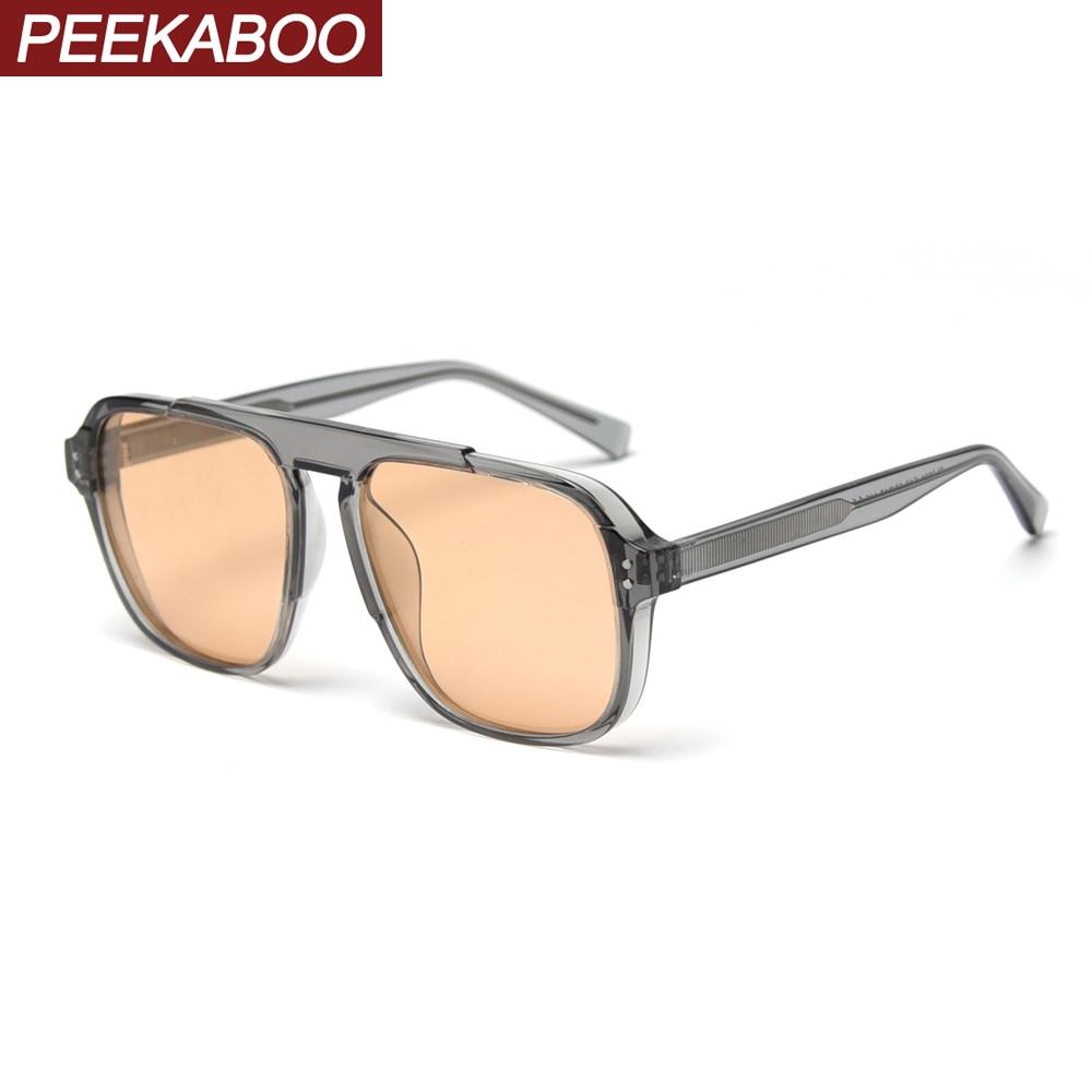 Peekaboo Clear Men Square Sunglasses Photochromic 2020 Summer Tr90 Transparent Sun Glasses Polarized Woman Uv400 Korean Style