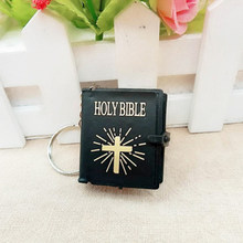 Lysigo Cute Mini English HOLY BIBLE Keychains Religious Christian Jesus Cross Keyrings Women Bag Gift Souvenirs Prayer God Bless(China)