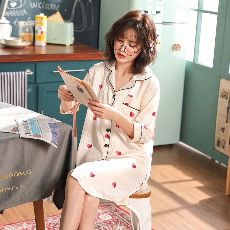 Nightgown Women's Summer Long Sleeve Viscose Thin Cardigan Nightgown Model Silk Pajamas Female Summer M ~ XXXL Code