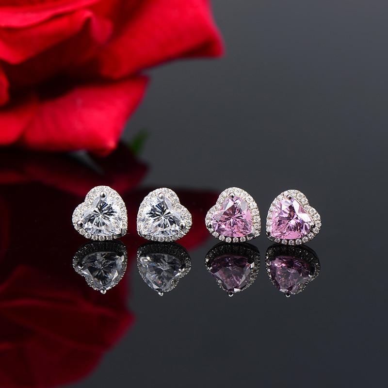 Argent 925 bijoux Vintage boucles d'oreilles coeur boucles d'oreilles argent luxe 1ct 2ct haute qualité CZ boucle d'oreille pour les femmes bijoux