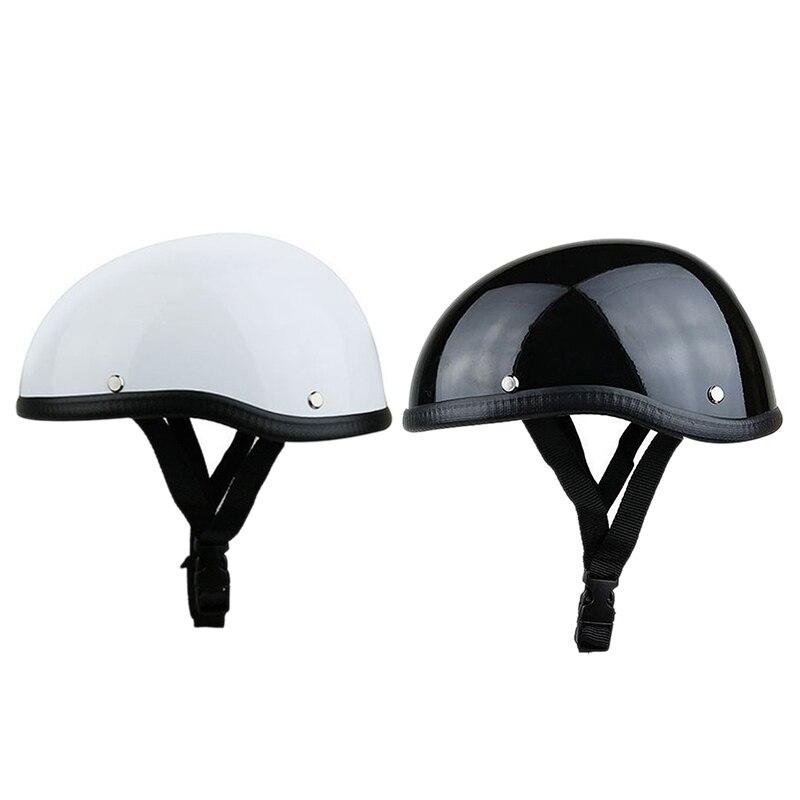 2 шт., мотоциклетный шлем с черепом, винтажный шлем на половину лица, ретро немецкий стиль, чоппер Крузер, яркий белый и яркий черный