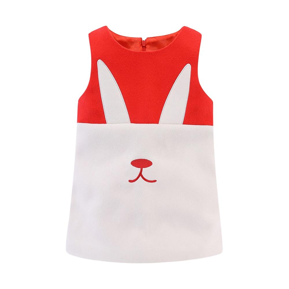Mudkingdom Little Girls Dresses Sleeveless Wool Cute Cats Bunny Cartoon Winter A-Lined Kids Dress Girls Clothes 4