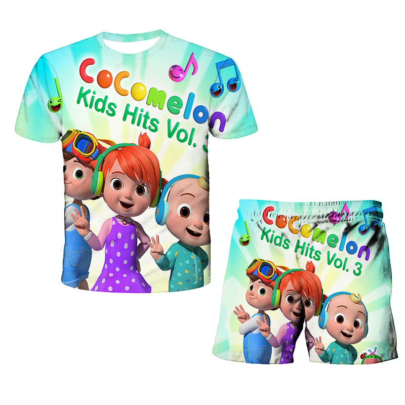 New Animation Cocomelon Cartoon 3d Printing T Shirt Children For Girls Baby Boys Sport Suit Costume Tops Pants Clothing Sets