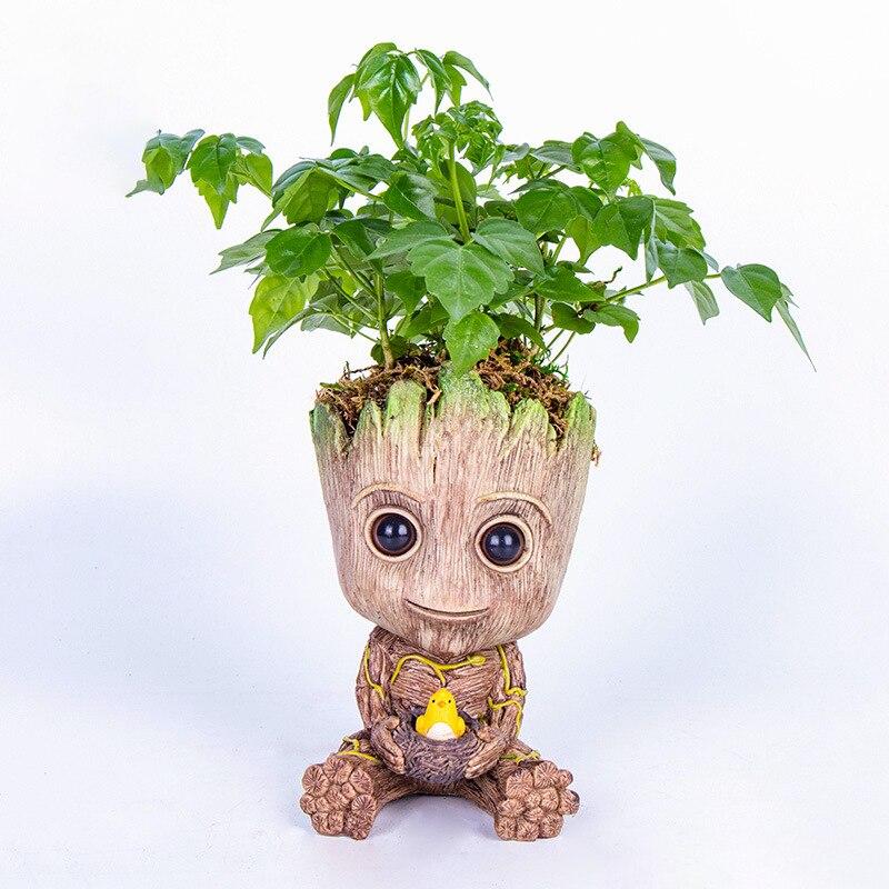 Carton Flowerpot Baby Groot Pen Pot Holder Plants Flower Pot Cute Action Figures Toys For Kids Gift Desktop Decoration