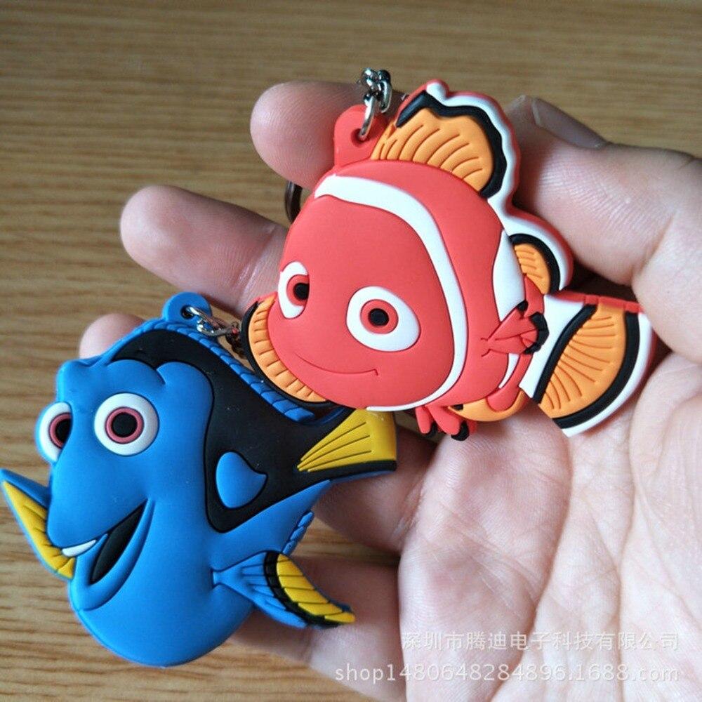 LLavero de PVC con dibujo de pez payaso para cosplay Nemo Dory anime de moda divertida y bonita silicona para llaveros