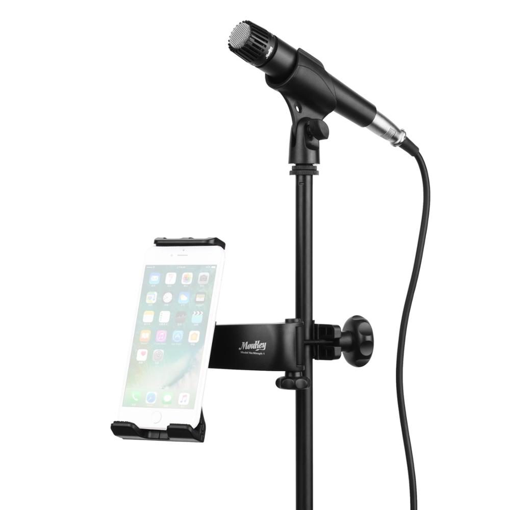 Moukey Mic Stand Tablet Holder Headrest Cradle Car Mount Holder For Microphone Music Stand For Phone 4''-11'' Tablet Universal