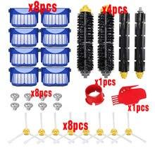 Kit de filtros para reposição irobot roomba, compatível com irobot escova batedora flexível série 600, cerdas e escova armadura kits limos peças