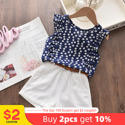 Keelorn Girls Clothes Set Summer Kids Floral Top And Shorts 2Pcs Suit Sleeveless Children Clothing Casual Baby Girls Outfits