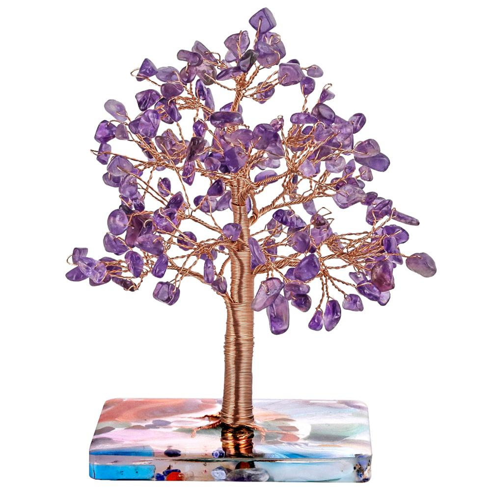 TUMBEELLUWA Natural Healing Crystal Tree With Agate Slices Resin Base For Home Decor,Copper Wrapped Money Tree For Wealth & Luck