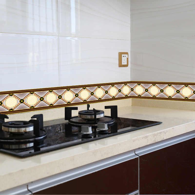 1 רול 0.1x5m מודרני פרח מדבקות מותניים קו קיר מדבקת טפט מטבח אמבטיה אסלה גבול עמיד למים פנלים דקור