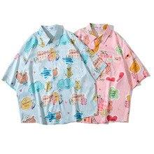 Men Shirt Short Sleeve Pink Blue 2021 New Summer Loose Trendy Cute Male Shirt Thin Cartoons Student European Style S57