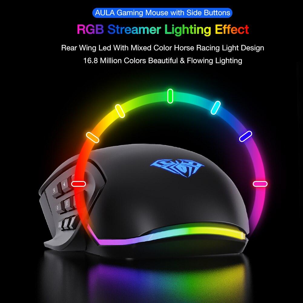 Aula h510 gaming mouse rgb 10000dpi ajustável