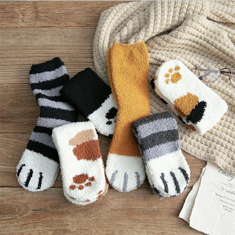 1 pair of plush coral fleece socks female tube socks autumn and winter cat claws cute