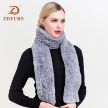ZDFURS* real rex rabbit fur scarf long style women Rex Natural Rabbit Fur Scarves winter warm muffler