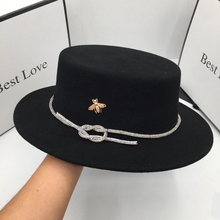 Hat Socialite Spring Wool Winter Women New The And Autumn Short for Diamond Eaves Ceiling