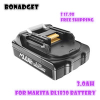 Bonadget-batería de litio recargable para Makita, herramientas eléctricas de repuesto, 18V, 3000Ah, BL1830, BL1815, BL1860, BL1840, 194205-3