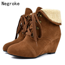 Brand 2019 Winter Women Snow Boots Suede Warm Plush Wedges Ankle Boots Female Lace-up Fur Shoes Booties For Women Botas Mujer цена в Москве и Питере
