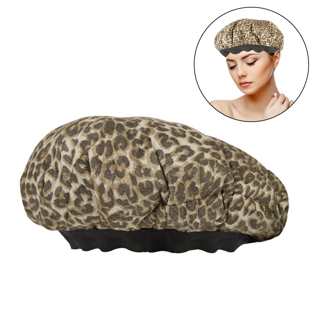 Portable Universal Deep Conditioning Reversible Hair Care Travel Microwavable Heat Cap Leopard Print Cordless Flaxseed Interior
