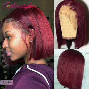 Straight Burgundy Bob 13X6 Lace Front Human Hair Wigs 99J Lace Front Human Hair Wigs Brazilian 180% Density Lace Frontal Wigs