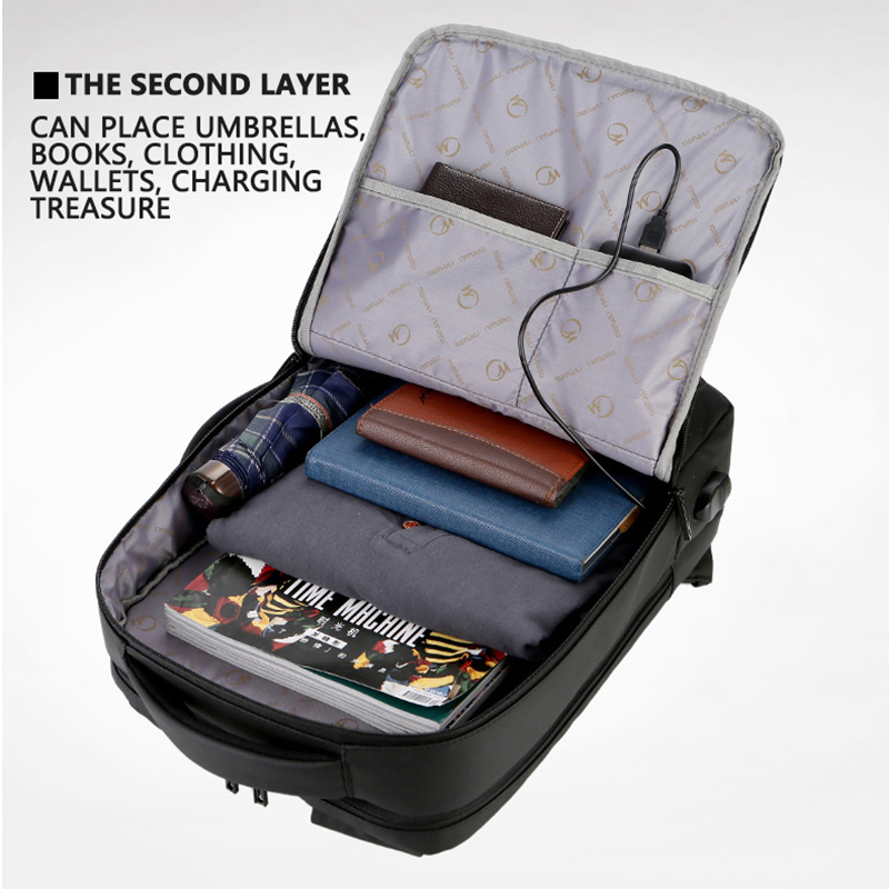Image 4 - 2019 Mens Anti theft 14 15.6 inch Laptop Backpack USB Charging  Waterproof Male Business Travel Back Pack  Boys School  BagpacksBackpacks