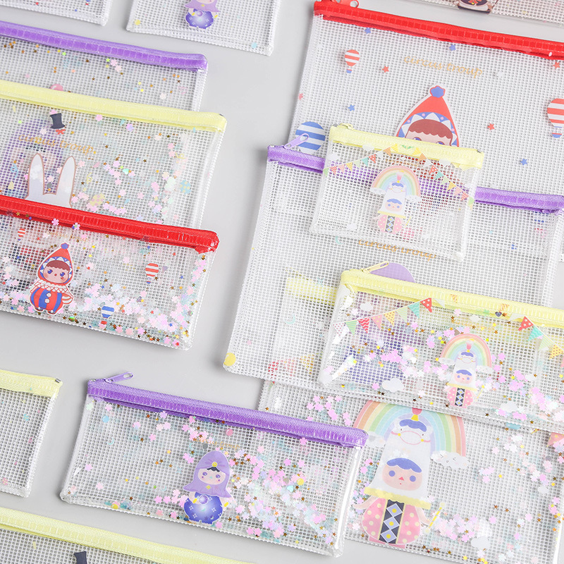 Creative Stationery New Series Various Optional Sequin Mesh Bag Zipper Bag