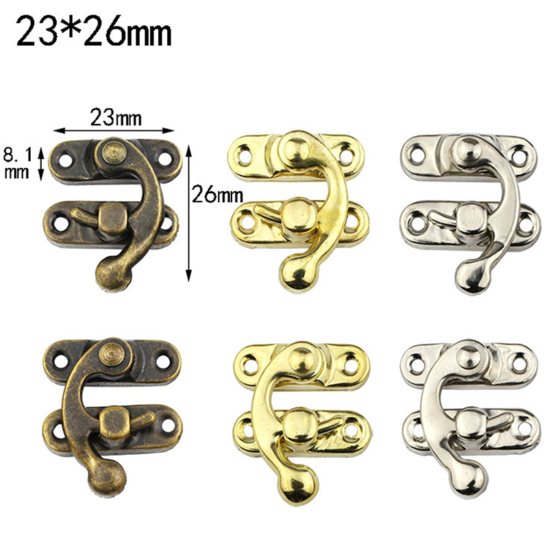 10PCS Small Antique Metal Lock Decorative Hasps Hook For Gift Wooden Jewelry Box Padlock With Screws For Furniture Hardware