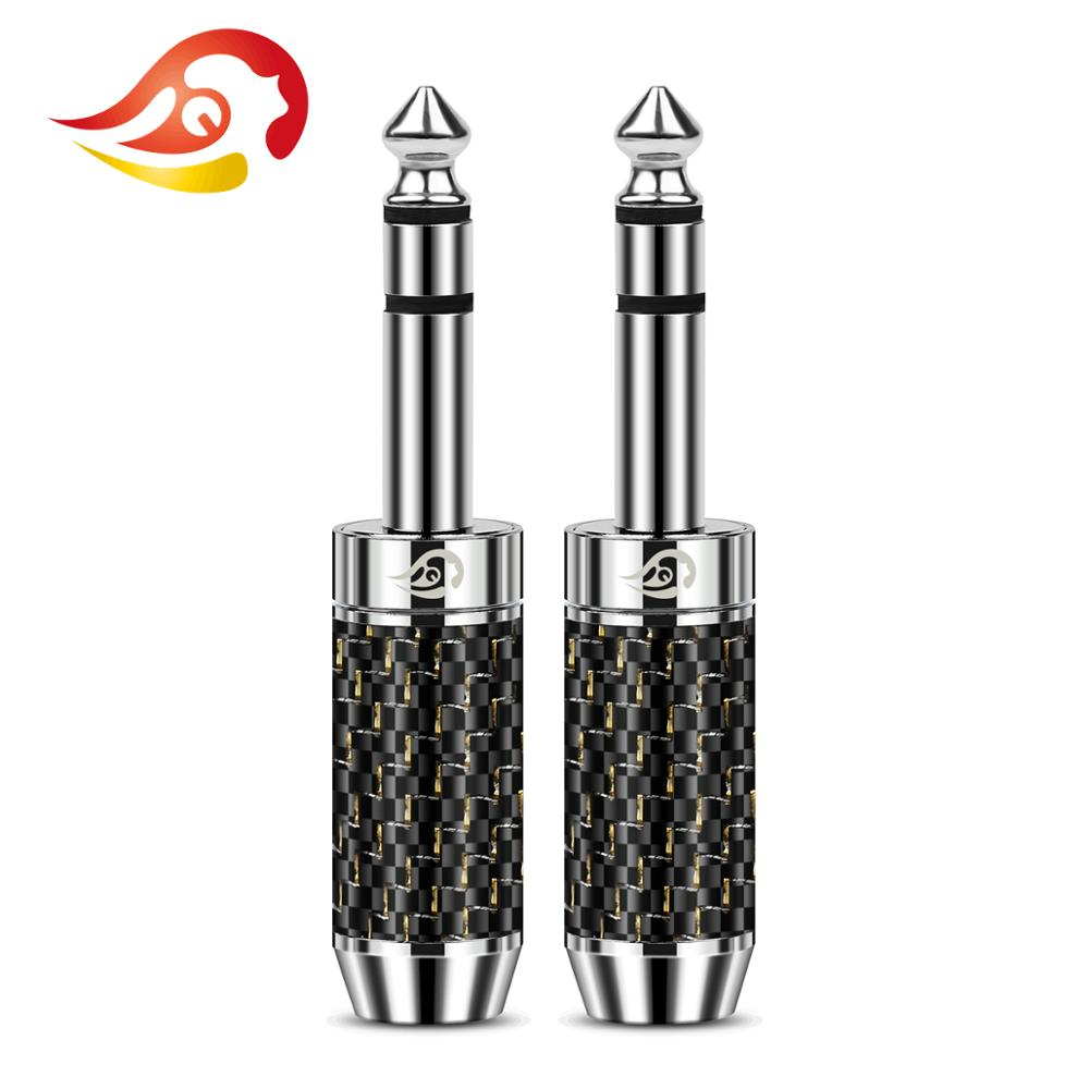 QYFANG 6.35mm 3 Pole Stereo 4 Layer Rhodium Plated Copper Audio Jack Earphone Plug Metal Adapter Carbon Fiber Wire Connector
