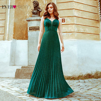 Dark Green Evening Dresses Women Party Night Ever Pretty Long V Neck Sleeveless Sexy Christmas Dress Вечернее Платье EP00594DG