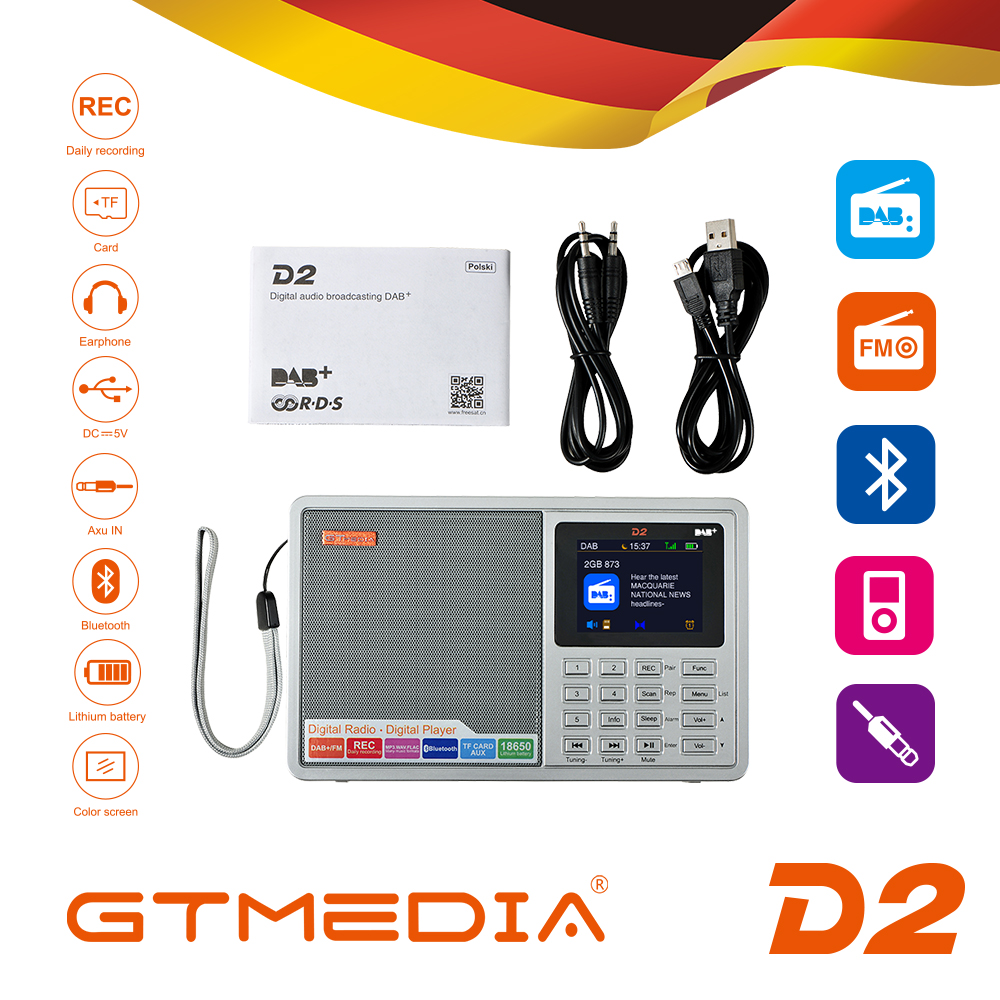 GTMEDIA D2 Portable <font><b>Radio</b></font> FM DAB stereo/ RDS Multi Band <font><b>Radio</b></font> Speaker with LCD Display Alarm Clock Support Micro SD TF Card image