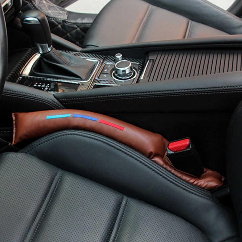 Um par de couro do falso assento de carro gap almofada enchimento espaçador slot plug para bmw 1 2 3 5 série x1 x3 x5 x6 f10 e70 e90 acessórios
