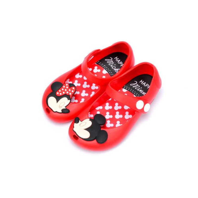 Summer Cute Cartoon Jelly Shoes Girls Sandals Infants Minnie Mickey Children Shoes Baby Girls Shoes 13-17cm