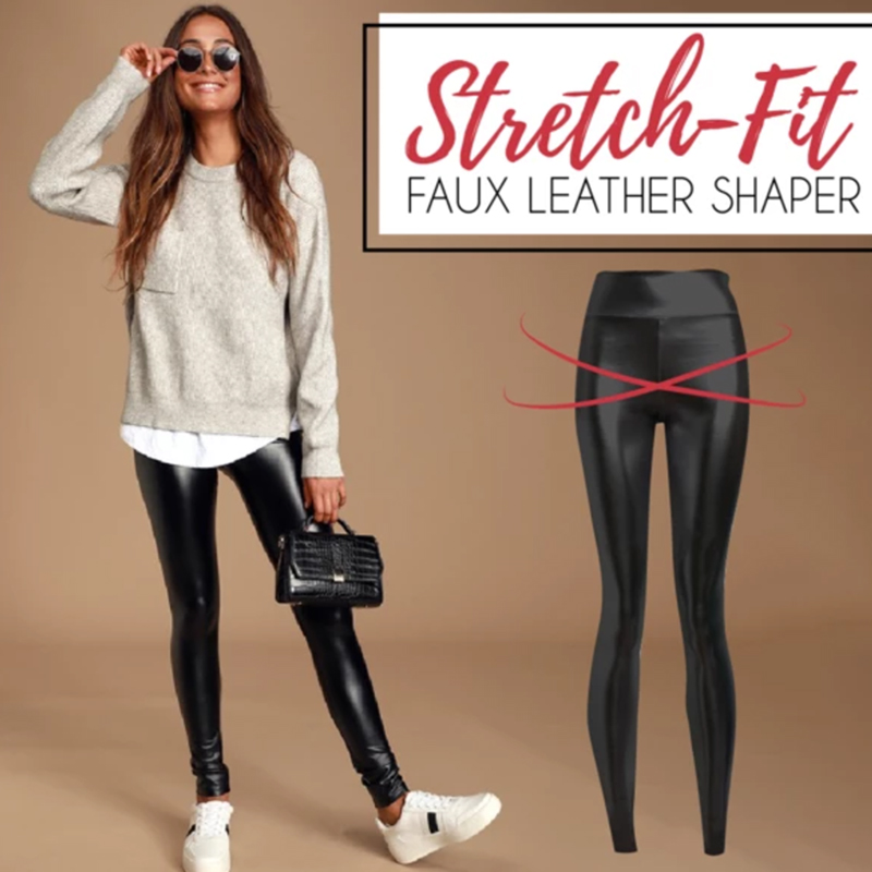 Stretch Fit PU Leather Shaper High Waist Leggings Pants For Women Autumn Winter GDD99