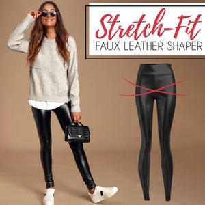 Stretch Fit PU Leather Shaper High Waist Leggings Pants for Women Autumn Winter GDD99