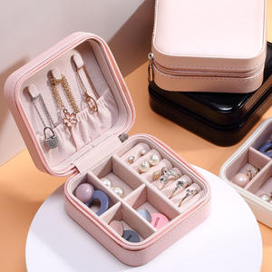 Case-Boxes Jewelry-Box Display Leather Storage Universal Travel Portable Zipper