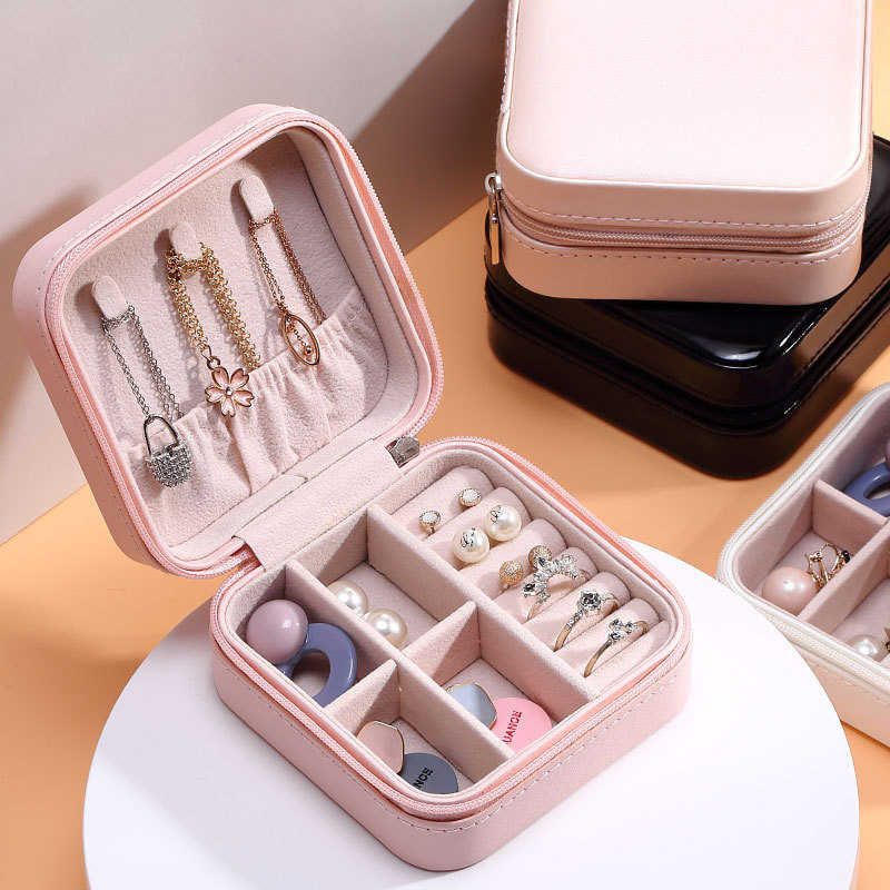 2020 Universal Perhiasan Organizer Display Perhiasan Perjalanan Case Kotak Portabel Kotak Perhiasan Zipper Kulit Penyimpanan Zipper Jewelers