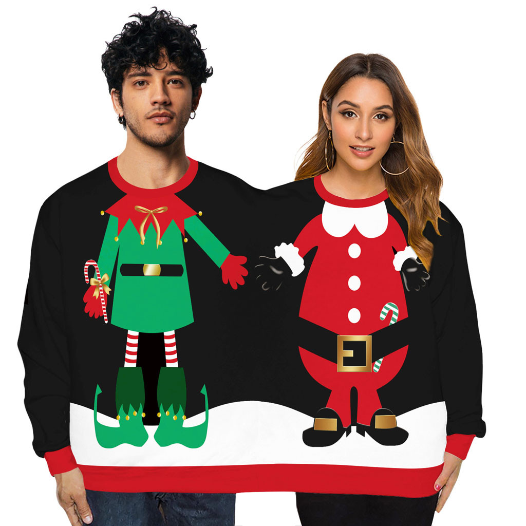 Couples Novelty Christmas Siamese Sweaters Two Person Unisex Men Women Sweater Kintted Winter All-match Sweater Streetwear Z0911